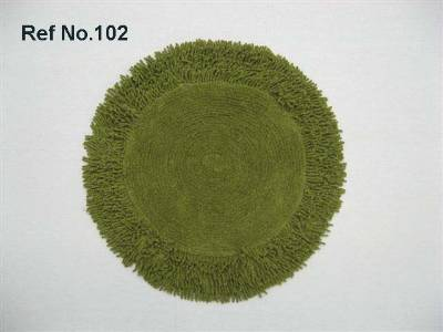 Round shaped floor coverings, floor mats manufactured using cotton terry cloth from our factories in India.